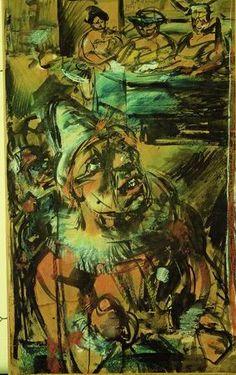 ROUAULT/Clown au bandonéon, 1906. 73 x 46, aquerelle et pastel