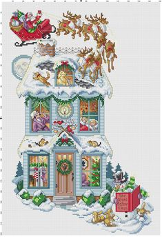 "Cross-stitch Christmas Stocking ""The Night Before Christmas""  ... no color chart available, just use pattern chart as your color guide.. or choose your own colors...    <3"