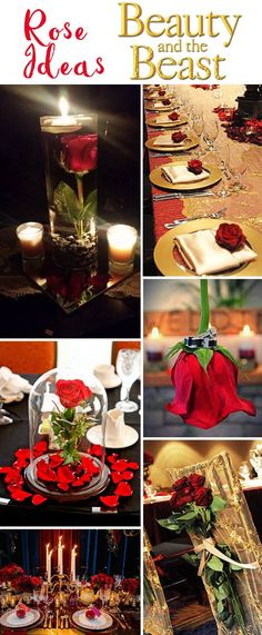 pretty red rose ideas for disney beauty and beast fairytale weddings