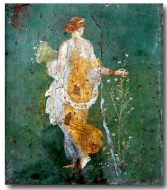 Pompei Mural ~ Woman with Flowers ~Flora, woman picking flowers with a cornucopia in the ruins of Pompeii, AD. Flora Picking Flowers by the Sea. Fresco found in the ruins of Pompeii, Italy. Ancient Pompeii, Pompeii Ruins, Pompeii And Herculaneum, Ancient Art, Pompeii Italy, Ancient Beauty, Art Romain, Art Ancien, Kunst Online