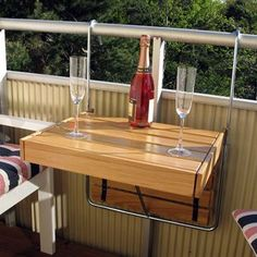 Flexitable is a Swedish designed balcony table, which you can adjust according to your needs. The design is sleek and simple with smart technology and the table is infinitely adjustable in length and height.Hang it vertically against the balcony railing, fold it up for two guests or pull it out to fit four guests!