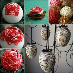Wonderful DIY Lifetime Fabric Pine Cone Ornaments A fabric pinecone is a nice and fun craft for the winter holiday decoration. It's will be a lifetime ornament if you keep well . Folded Fabric Ornaments, Quilted Christmas Ornaments, Pinecone Ornaments, Homemade Ornaments, Christmas Sewing, Handmade Christmas, Christmas Crafts, Christmas Decorations, Diy Ornaments