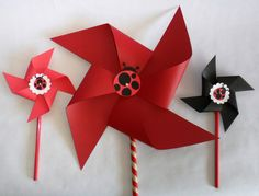 Ladybug Pinwheels and Lady Bug Party Package for a Baby Shower Bridal Shower Birthday Party Favors or Wedding or Bat Mitzvah. $125.00, via Etsy.
