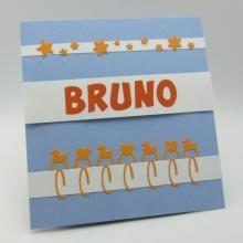Geboortekaartje voor Bruno met letters van Marianne Design en sterren en paperclips van Joy! Crafts.  ///  Galerij | Erwtje.be