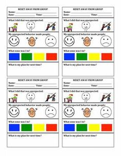 Social Thinking classroom behavior management system with Zones of Regulation processing sheets.