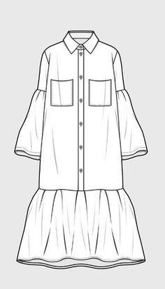Trendy dress pattern drawing inspiration Source by fashion drawing Fashion Flats, Fashion Art, Fashion Outfits, Fashion Design Drawings, Fashion Sketches, Sewing Shirts, Dress Drawing, Shirt Drawing, Illustration Mode