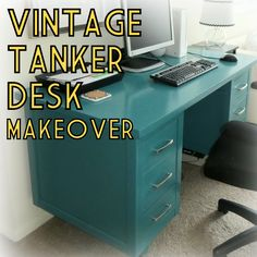 vintage MCM wood tanker desk paint furniture makeover teal turquoise home office - March 02 2019 at Metal Desk Makeover, Desk Redo, Office Makeover, Furniture Makeover, Cool Furniture, Paint Furniture, Repurposed Furniture, Refurbishing Furniture, Reclaimed Furniture