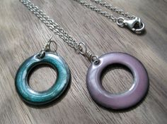The Positivity Circle Necklace Copper Enamel on a by Steinvika, $39.00