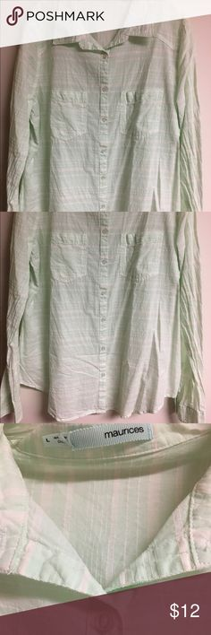 Maurice's Large Button Up long sleeve mint white Pretty minty green & white plaid Maurice's size Large Button Up long sleeve top. Washed, never worn. Just needs ironing. No holes, no stains, no flaws of any kind. Check my other items for bundles! I'll be listing about 200 items in the next week or so. I have entirely too many clothes and I'm running out of closet space! Time to consolidate and find new homes for all these pieces. Offering a 10% bundle discount on 3+ items right now! Maurices…