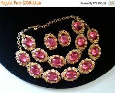 On Sale Rare Vintage Tara Parure Pink Rhinestone Designer