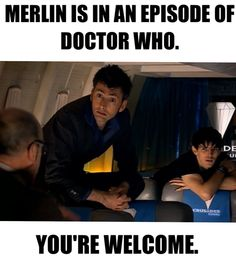 had seen merlin before the doctor and when this episode came about on my radar I was laughing the whole time David Tennant, Tardis, Fandom Crossover, Jethro, Bbc, Geek Stuff, Fun Stuff, Doctor Who, Fictional Characters