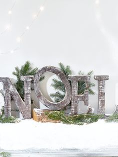 Beautifully carved from mango wood with a soft limewashed finish, our set of four standing letters spell out 'NOEL' and each have simple white painted sides. The perfect size for displaying at your Christmas table, on the window sill or mantelpiece, these lightweight wooden letters add a rustic woodland feel to your festive display.