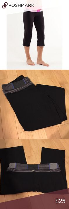 Lululemon Groove Crop Bought these from another Posher but never worn. Looser leg opening. Size 12. Mild pilling at crotch. Pretty colors on waistband. Stock photo is to show fit. lululemon athletica Pants Ankle & Cropped