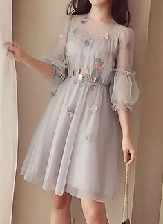grey homecoming dress in 2020 Stylish Dresses, Cute Dresses, Beautiful Dresses, Casual Dresses, Short Dresses, Fashion Dresses, Korean Fashion Dress, 1950s Dresses, Office Dresses