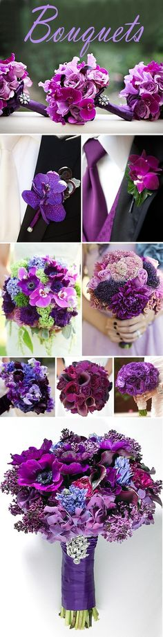 Purple bouquets -- just needs some silver in there and it would be perfect =)
