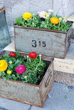 Flowers in wooden boxes via In My House Blogg & Butik