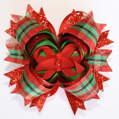Christmas Red Green Plaid and Glitter Stacked Boutique Hair Bow