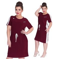 Summer Dress Plus Size Women Clothing Short Sleeve Straight Casual Dress Large Women Dress Big Dress Vestidos Color Navy Blue Size XL Big Dresses, Cotton Dresses, Short Sleeve Dresses, Summer Dresses, Large Women, Plus Size Womens Clothing, Sporty Style, Western Outfits, Free Clothes