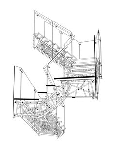 Genetic Stair  Section Perspective Drawing  Caliper Studio, 2006-2008 #stair #structure #drawing #section #perspective #architecture #design #visualization