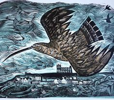 'Curlew at Whitby' by Angela Harding from 'Flights of Memory' her forthcoming show at the Yorkshire Sculpture Park, which runs from - Collage Illustration, Graven Images, Art Images, Detail Art, Wildlife Art, Nature Art, Yorkshire Sculpture Park, Linocut Art, Bird Art