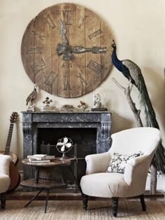 This room is very proportionate besides the clock above the fireplace. It is way to big compared to the fireplace, but that creates a point of interest. Huge Clock, Big Clocks, Cool Clocks, Home Living, My Living Room, Le Logis, Wooden Clock, Design Thinking, Country Decor