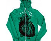 Unisex ANATOMICAL HEART Tri-Blend Green Hoody, well it's not quite on  the sleeve...
