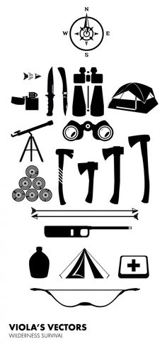 Free vector download. Wilderness Survival Set. Free for private & commercial use.