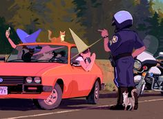 Hard to avoid a speeding ticket during road trips but maybe cats could change the cop's mind ;) thank you, please enjoy~~!!