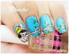 Pinocchio {79 Wonderful Disney Nail Art Designs}