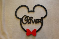 Wooden Mickey Mouse, Disney Mickey Mouse with Bow Tie, Wooden Name Sign, Kids Name Sign, Name Wall H Wooden Door Signs, Wooden Door Hangers, Wooden Doors, Door Name Plates, Disney Babys, Wooden Names, Wood Creations, Diy Door, Disney Mickey Mouse