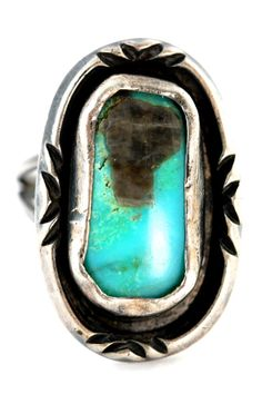 Signed Navajo Turquoise Ring
