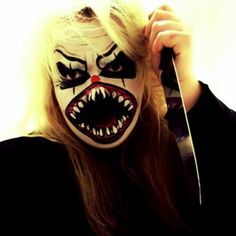 Angry clown. | 33 Totally Creepy Makeup Looks To Try This Halloween