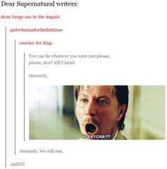 Dear Supernatural writers: You can do whatever you want just please, please, don't kill Castiel. - the gif is fabulous!