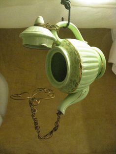 Treapot - Upcycled Teapot Birdhouse In Seafoam Green And Gold
