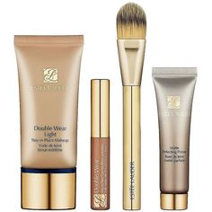 ESTEE LAUDER Double Wear Makeup Lesson For a Sheer, Natural Look (925 CZK) ❤ liked on Polyvore featuring beauty products, makeup, beauty, cosmetics, estée lauder, estee lauder makeup, estee lauder kit and estee lauder cosmetics