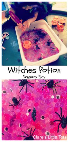 Witches potion sensory play, fun Halloween sensory bin for toddlers and preschoolers.