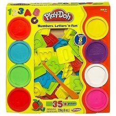 Description Set of colorful letter and number molds lets you mix and match your ABCs and 123s for endless spelling and counting fun – Play-Doh-style! Set includes plastic knife, 26 letter molds, nine