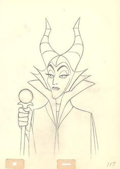 Production drawing of scowling Maleficent.