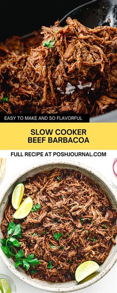 Have a craving for Chipotle Barbacoa? Try making this juicy Mexican pulled beef, slow-cooker barbacoa at home today. The beef chuck is cooked slowly in a slow cooker. It's absolutely better than Chipotle's beef barbacoa. It's made of simple ingredients and easy to put together. #barbacoa #recipe #Mexican Side Dish Recipes, Lunch Recipes, Meat Recipes, Fall Recipes, Easy Dinner Recipes, Mexican Food Recipes, Dinner Ideas, Beef Barbacoa, Barbacoa Recipe