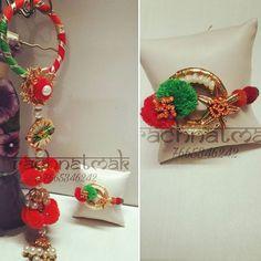 #gotalove #couplerakhi  #longlatkan #tassels  #pompom #rachnatmak #rachnatmakrakhi #om #rakhi2017 Rakhi Making, Rakhi Design, Diwali Diy, Bangles Making, Diwali Decorations, Woman Clothing, Henna Designs, Quilling, Galleries