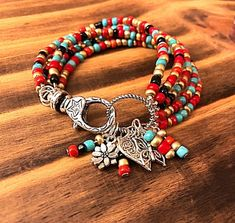 funky hippie bohemian feel of the bracelet's, seed beads all combine for a perfect Gypsy Beaded Stackable Bracelet Set - Bohemian Jewelry, Wire Jewelry, Jewelry Crafts, Gemstone Jewelry, Beaded Jewelry, Jewelry Bracelets, Jewelery, Handmade Jewelry, Hippie Bohemian