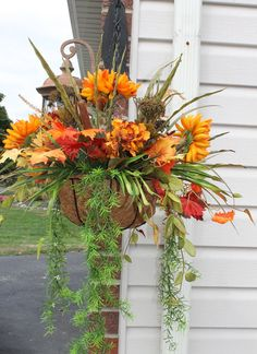 Silk Hanging plant  Fall Mums by SilkEleganceFlorals on Etsy, $45.95