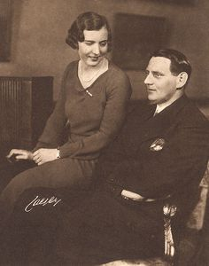 The future queen Ingrid and king Frederik IX of Denmark as newly engaged princess of Sweden and crown prince of Denmark in 1935.