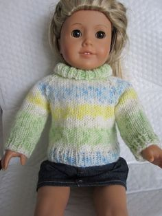 45302d2891ac4 Knitting Pattern for 18 inch American Girl Doll .... Easy Top Down  Turtleneck