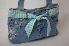 Blue Denim Recycled Jean Purse with Vintage Floral Cotton Lining. $25.00, via Etsy.