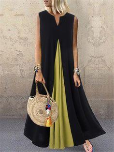 S ZANZEA Fashion Pacthwork Sundress 2020 Summer Sleeveless Party Vestidos Women Solid Cotton Long Dress Femme Tunic Robe Ärmelloser Pullover, Boho Fashion, Fashion Dresses, Maxi Dresses, Sleeveless Dresses, Dresses Dresses, Linen Dresses, Skirt Outfits, Cheap Dresses