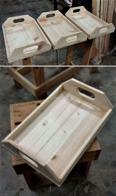 """wood pallet serving trays (Diy Wood Pallet) """"Easy To Make Wood Pallet Furniture Ideas: It is not difficult to modify the wood pallets, but if someone wants Diy Wood Pallet, Wooden Pallet Projects, Wooden Pallet Furniture, Wooden Pallets, Wooden Diy, Diy Projects, Project Ideas, Furniture Ideas, Pallet Tray"""