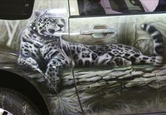 painting, airbrush, car, mitsubishi pajero, leopard, close-up