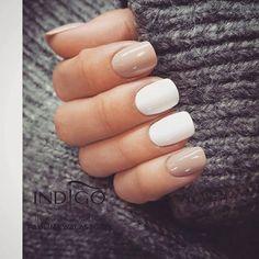 Mr. White (Gel Polish) + Vanilla Nude (Gel Brush) by Indigo Educator Paulina Walaszczyk Lodz #nails #nail #pastel #winter #indigo #white #latte #nude