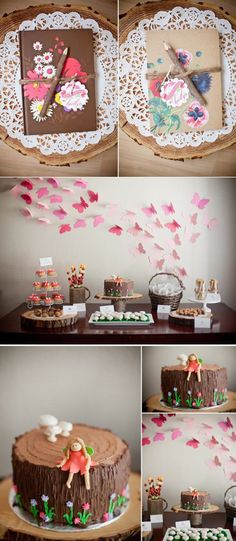 Woodland animal girly birthday party with so many cute and simple ideas! Love the paper butterfly backdrop.